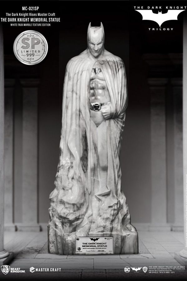 THE DARK KNIGHT MEMORIAL STATUE WHITE FAUX MARBLE TEXTURE EDITION